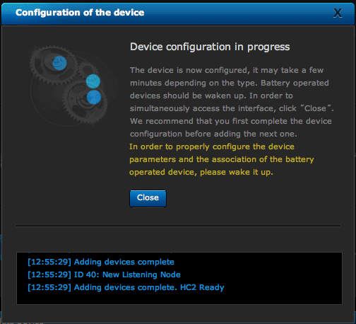 HC2 device configuration screen