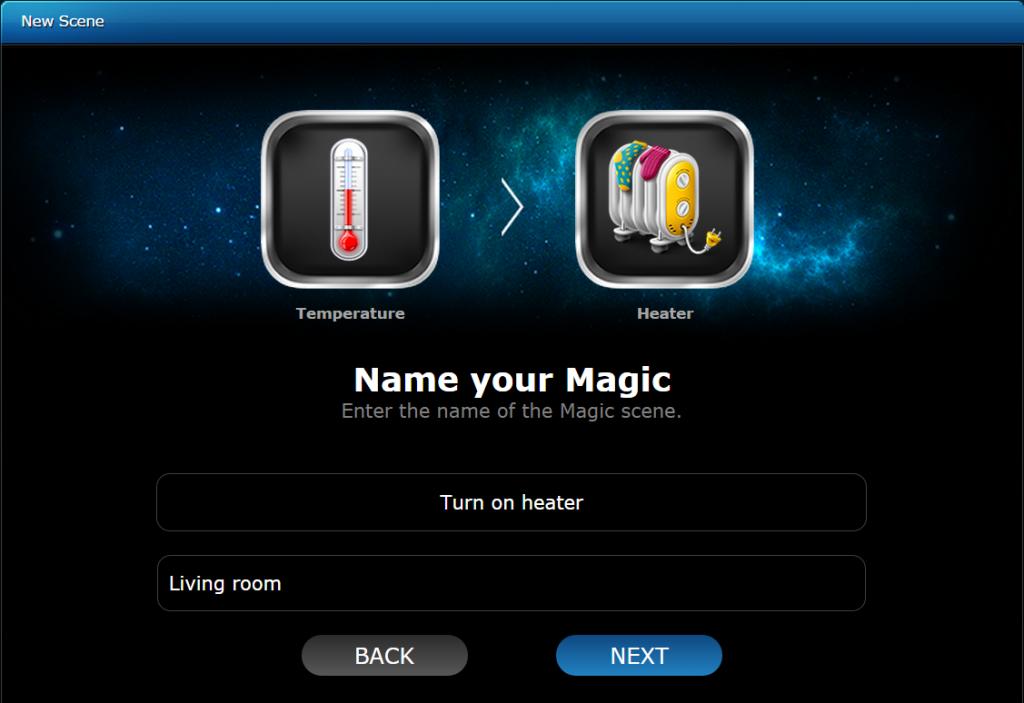 اتمام ایجاد سناریو magic scene